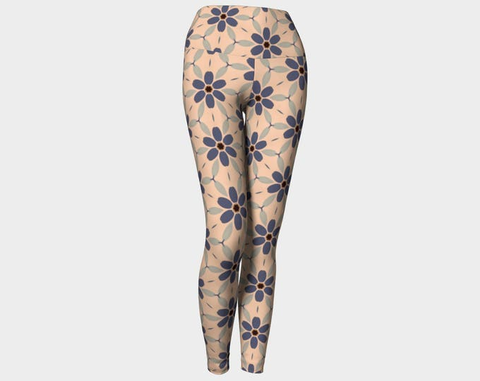 Indigo Large Daisy Yoga Leggings, Yoga Leggings, Yoga Pants, Women's Leggings, Printed Leggings, Gift for Her