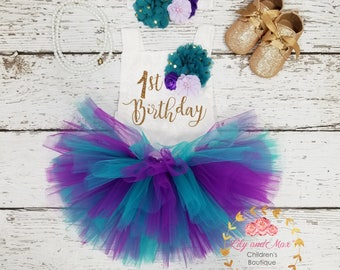 1st Birthday Outfit, mermaid birthday tutu set, 1st birthday Romper, purple and teal tutu set, first birthday smash cake outfit