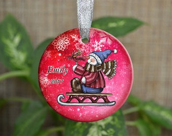 Personalized Christmas Ornament, Baby First Christmas ornament, Custom Ornament, Newborn baby gift, Snowman ornament, Christmas gift. o092