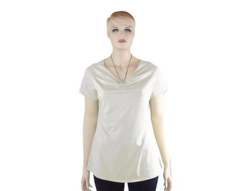 Womens Drape Neck Shirt - Cowl Neck- Choice Sleeve Length- Hand Dyed Organic Cotton/Bamboo Jersey-Custom Size and Color-XXS to Large