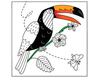 Toucan Paradise Coloring Page - Instant Digital Download