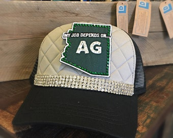 Black & Gray Quilted Hat- Bling- Arizona Patch- My Job Depends On AG- Landfill Dzine