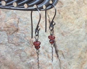GARNET Earrings, Red Garnet jewelry, January birthstone, birthday, red gemstone earrings, handmade artisan jewelry, Angry Hair Jewelry