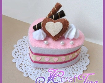 Heart-Shaped Chocolate Cream Cake PDF pattern - Style 5