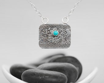 Turquoise Necklace - Sterling Silver Lotus Necklace - Lotus Blossom Layering Necklace - Turquoise Pendant Necklace - Delicate Necklace