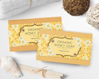 Soap Labels - Honey Soap Labels - Soap Packaging - Soap Wrapper - Cosmetic Labels -  Printable Label Design - Product Labels - SW-3