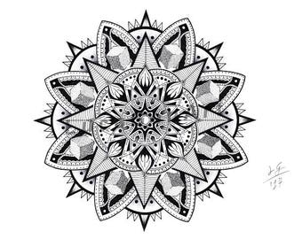 Mandala handmade Drawing, Instant Download, Decoration, Digital Print, Made in pencil and ink, Mandala Art, Sacred Geometry