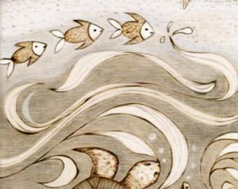Sea Turtle, Hawaiian, sea turtle,sea life, beach, Art Print, Ready to Hang, Canvas, 10x20 or 16x32