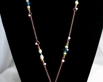 Floral Enamel Pendant Necklace