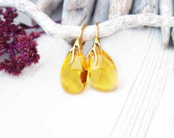 Yellow earrings, Swarovski earrings, Swarovski crystal earrings, Citrine earrings, Bridesmaid earrings, Teardrop rose gold earrings 5