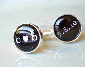 Personalized heart you and date cufflinks, timeless mens jewelry keepsake gift, classic cuff link accessories (A022)