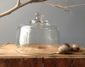 VINTAGE DOME...glass terrarium supplies -entertain picnic food - christmas decor miniature home Wedding Decor-rustic table setting