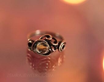 Copper Wire Wrap Clear Copper Czech Glass Boho Ring Size 6 Copper Wire Wrap Ring Dancing Wire Loops Fun Freeform Solitaire Statement Ring
