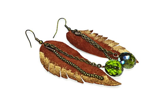 Leather leaf drop earrings with bead for woman, long dangle earrings by GunaDesign