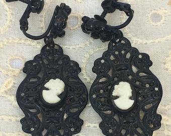 Vintage Black Filigree Cameo Dangle Earrings - Black Rhinestones