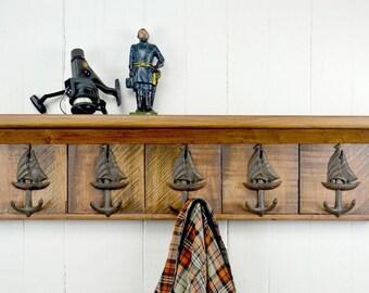 Rustic Wooden Coat Rack - Sailboat
