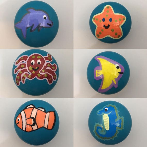 Ocean Fish Nautical Decor Hand Painted Drawer Knobs 6 Designs Clownfish, Angel Fish Octopus, Dolphin, Seahorse, Starfish