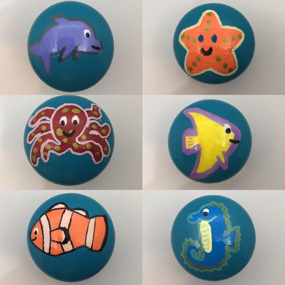 Ocean Fish Hand Painted Drawer Knobs 6 Designs Clownfish, Angelfish, Octopus, Dolphin, Seahorse, Starfish 3 Sizes Available 30mm, 40mm, 53mm