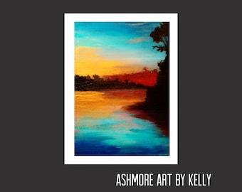 Originally acrylic painting,Artwork,Sunset,Seascape,Gold,Turquoise