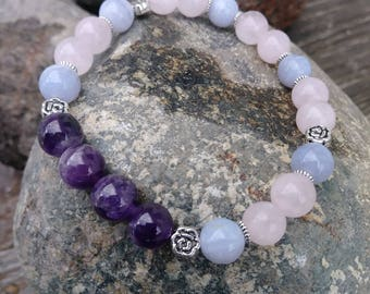 Anxiety & Stress Relief Crystal Healing Bracelet, Amethyst, Blue Lace Agate, Rose Quartz Gemstone Bracelet, Made to Order
