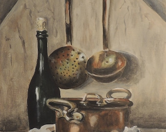 Original painting Copper pot still life with eggs on canvas board 9 x 12