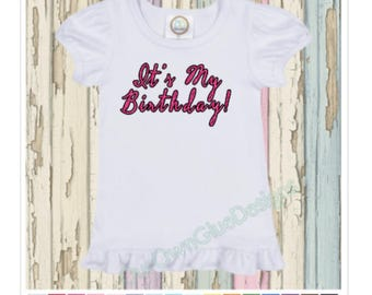 It's My Birthday Glitter Birthday Boutique Ruffle Shirt - Personalize any name, any age