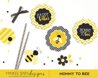 PRINTABLE Mommy To BEE - Cupcake Toppers - Yellow Chevron, Black and White Polka Dots