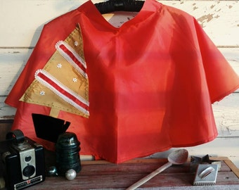Retro Red Christmas Half Apron - Vintage Red Taffeta Holiday Wear for a Hostess With the Mostest, Gift for a Hostess, Kitsch Christmas Apron
