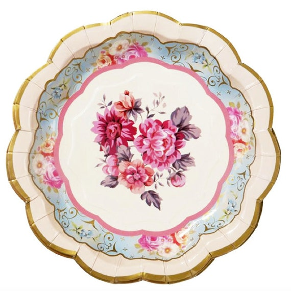 Bridal Tea Party Plates - Small   Floral Party Plate Paper Plate Floral Bridal Shower Shabby Wedding Shower Bridal Brunch Hen Do Flower TS  sc 1 st  Etsy & Bridal Tea Party Plates Small Floral Party Plate Paper