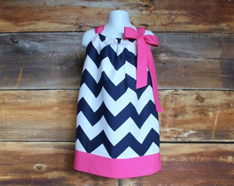 Easter Navy Dress & Hot Pink - Newborn baby toddler child girls pillowcase dress infant dark pink spring summer fall