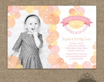 Pink gold bubble invitation glitter bubbles brunch bubbles and brunch invitation bubble birthday party invite pop on over first birthday or any age any text any colors printable stopboris