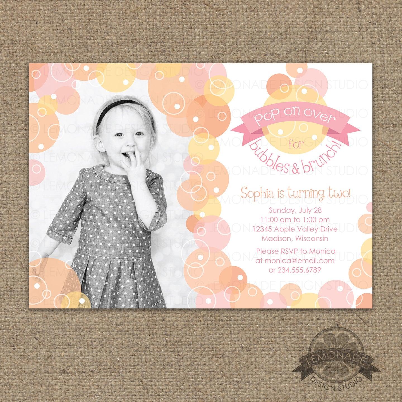 Bubbles and Brunch Invitation Bubble Birthday Party Invite