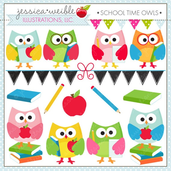 school time owls cute digital clipart for commercial and rh etsy com Cute Clip Art for Teachers Spring Clip Art for Teachers