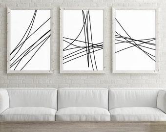 Set of 3 Large Printable Art, Trendy Wall Art Print, Minimalist Poster 24x36, Abstract Line Art, Black and White Print, Digital Download Art