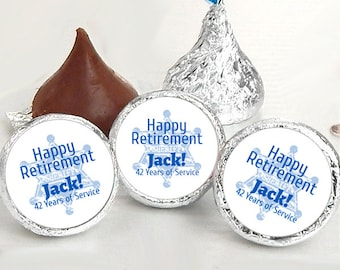 108 Happy Retirement Kiss® Stickers - Retirement Kiss Stickers - Retirement Candy Labels - Retirement Favors - Retirement Candy Stickers