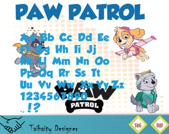 Paw patrol font svg file/ Paw patrol alphabet svg, dxf/ Printable/ SVG cut file/ Vector/ Digital/ Print/ Instant download