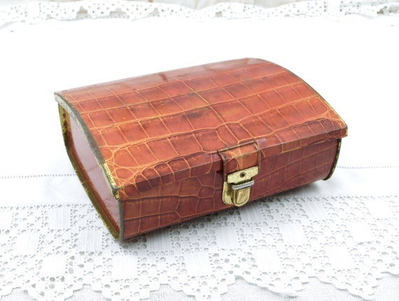 Vintage French Metal Fake Crocodile Skin Tin with Buckle, Cote D'Or Chocolate Promotional Suitcase Box with Animal Pattern from France