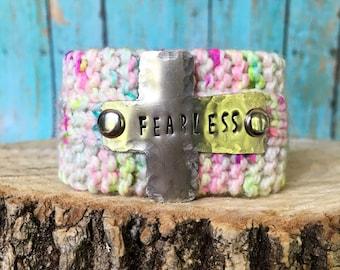 Silver Cross Scripture Bracelet, Custom Stamped Fearless Bracelet, Christian Knit Cuff Bracelet