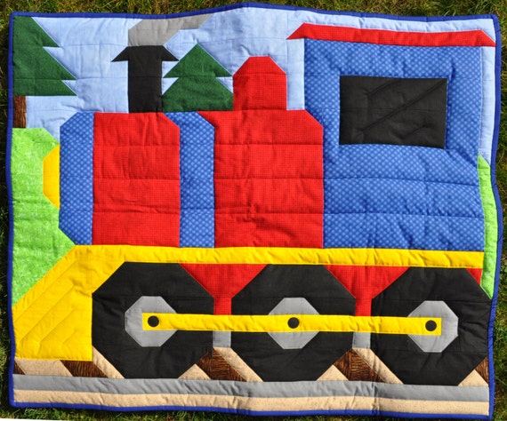 Train Quilt Pattern With Multiple Sizes Wall Crib Lap Twin