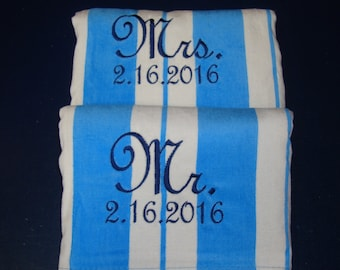 Beach Towel Set of 2, Wedding Gift, 2 Beach Towels for Bride and Groom, Mr. Mrs. Wedding Present