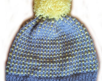 Grey and Yellow Hat with PomPoms T54/56