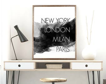 Fashion cities poster, 11x14, fashion digital print, new york london milan paris print, black and white decor, fashionista decor, modern