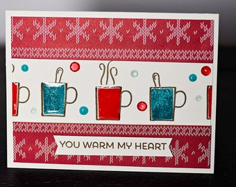 You Warm My Heart Card, Sweater Weather, Coffee Mug, Cocoa, Encouragement, Greeting Card