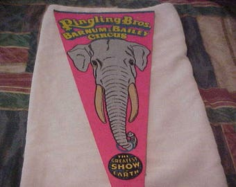 Ringling Brothers Barnum & Bailey circus elephant ring full size vintage pennant.  No longer being made