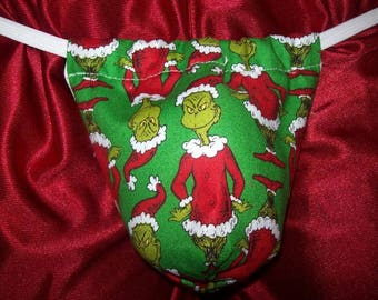 New Men's Holiday GREEN GRINCH Who Stole Christmas Gstring Thong Male Lingerie