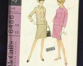 1966 McCalls 8486 Designer Originala Double Breasted Jacket & Pencil Skirt Size 14 UNCUT