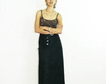 BLACK DENIM SKIRT, 90s jeans skirt, button skirt, button denim skirt, vintage maxi skirt, maxi denim skirt, cargo skirt, black denim, size S
