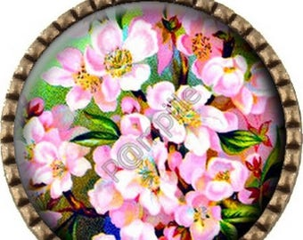 Bronze pendant Cabochon - Apple blossoms (428)