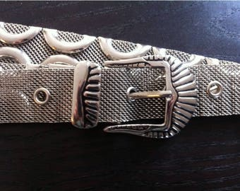 Vintage Adjustable Silver Color Mesh Women's Ladies Belt With Silver Metal Buckle
