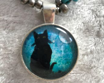 Black Cat Peeping style bead woven necklace
